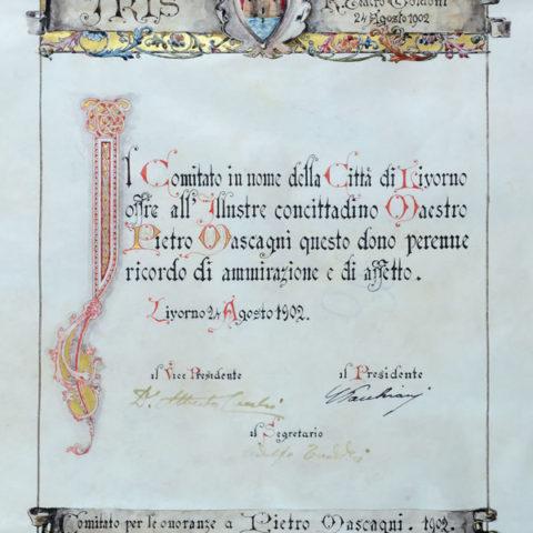 3. Pergamena d'onore rilasciata dal Patronato Teatrale Città di Livorno a Pietro Mascagni
