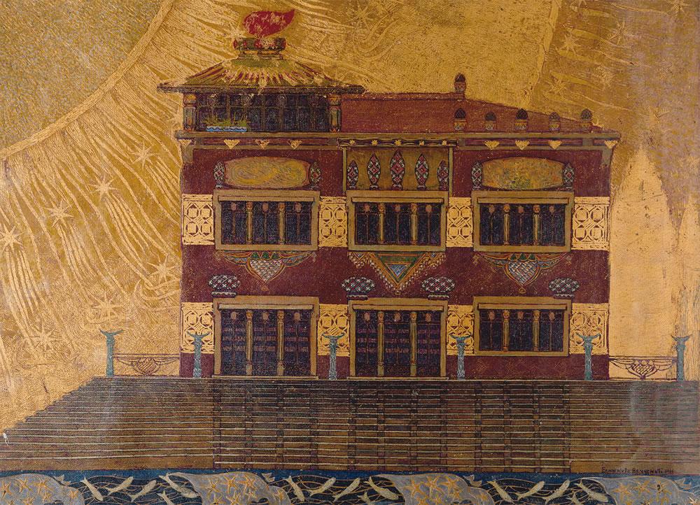 Benvenuto Benvenuti, Villa al mare, 1911, olio e tempera su cartone, cm 72 x cm 99. Museo Civico Giovanni Fattori Livorno.